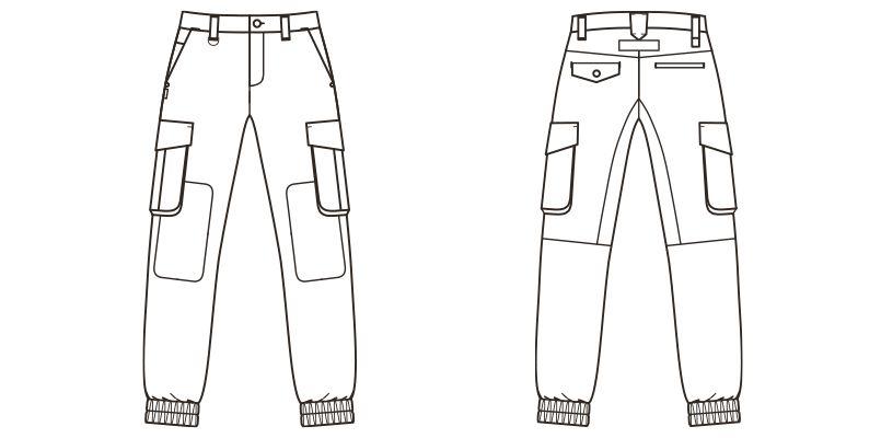 ROCKY RP6905 デニムジョガーカーゴパンツ(男女兼用) ハンガーイラスト・線画