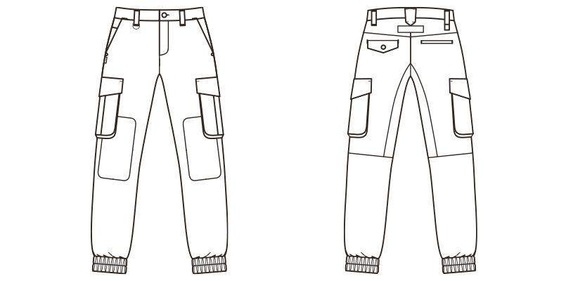 ROCKY RP6906 ツイルジョガーカーゴパンツ(男女兼用) ハンガーイラスト・線画