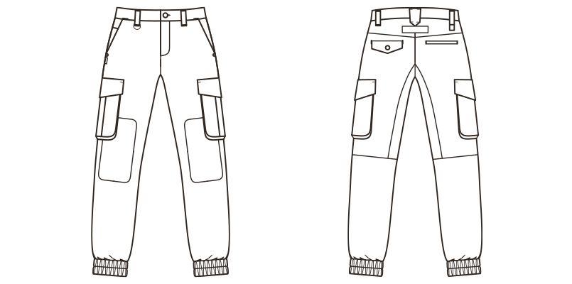 ROCKY RP6907 ジョガーカーゴパンツ コンビネーション(男女兼用) ハンガーイラスト・線画