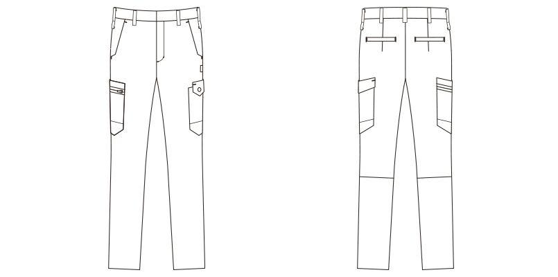 RP6909 ROCKY ノータックカーゴパンツ(男女兼用) ツイル ハンガーイラスト・線画