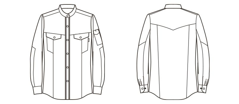 RS4301 ROCKY スタンドカラーシャツ(女性用) ハンガーイラスト・線画