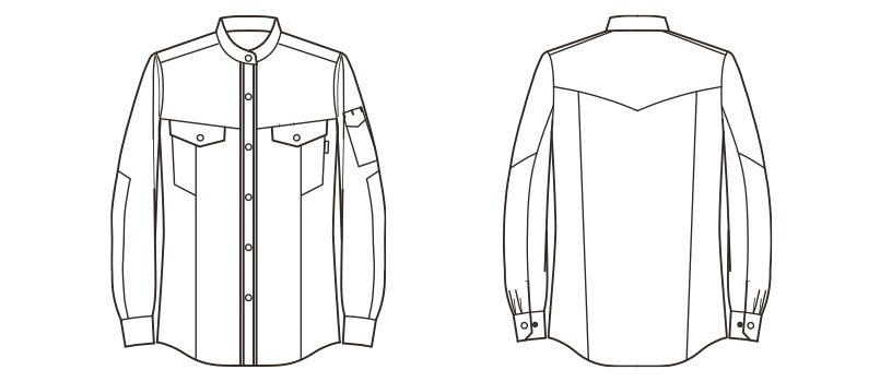 RS4601 ROCKY スタンドカラーシャツ(男性用) ハンガーイラスト・線画