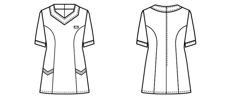 00105 BONUNI(ボストン商会) ニットワッフルシャツ/半袖(女性用) ハンガーイラスト・線画