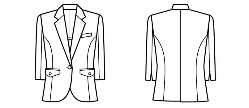 00106 BONUNI(ボストン商会) 七分袖/ニットワッフルジャケット(女性用) ハンガーイラスト・線画