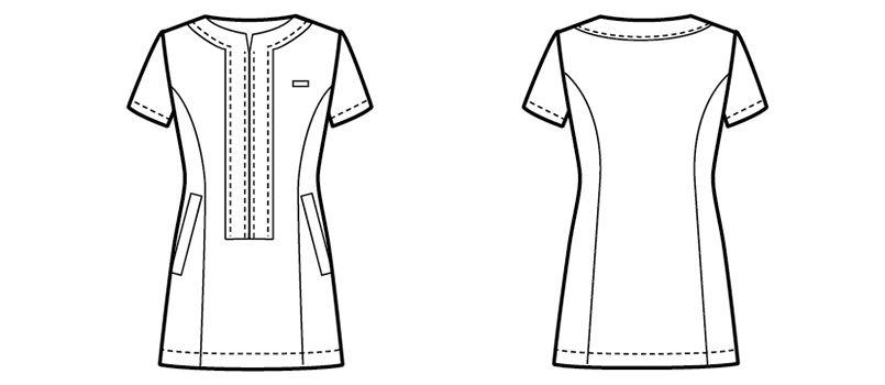 00113 BONUNI(ボストン商会) チュニックシャツ(女性用) ハンガーイラスト・線画