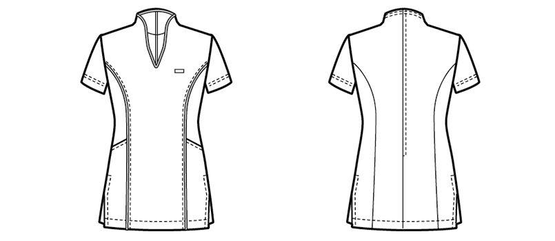 00120 BONUNI(ボストン商会) チュニックシャツ(女性用) ハンガーイラスト・線画