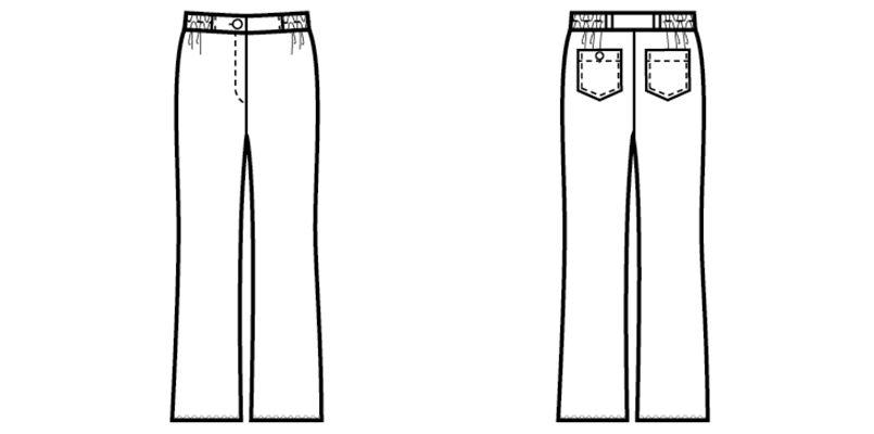 00200 BONUNI(ボストン商会) ニットワッフルパンツ/股下フリー(女性用) ハンガーイラスト・線画
