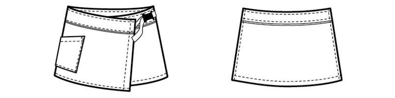 00909 BONUNI(ボストン商会) ラップエプロン(女性用) ハンガーイラスト・線画
