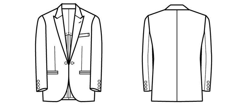 01102-02 BONUNI(ボストン商会) 共衿タキシード(男性用) ハンガーイラスト・線画