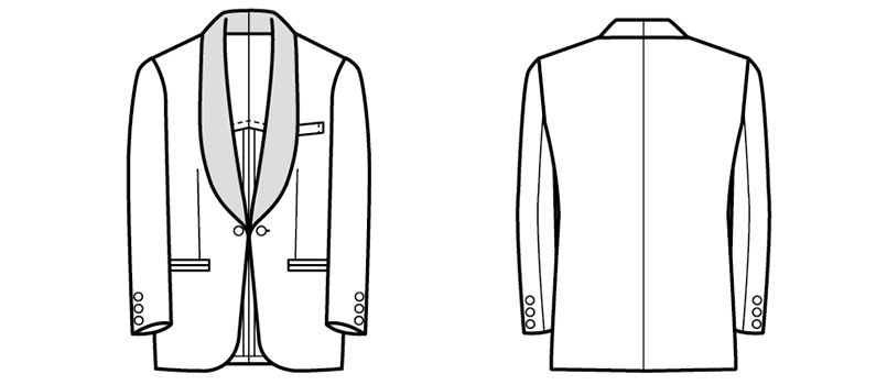 01103-02 BONUNI(ボストン商会) 拝絹タキシード(男性用) ショールカラー ハンガーイラスト・線画