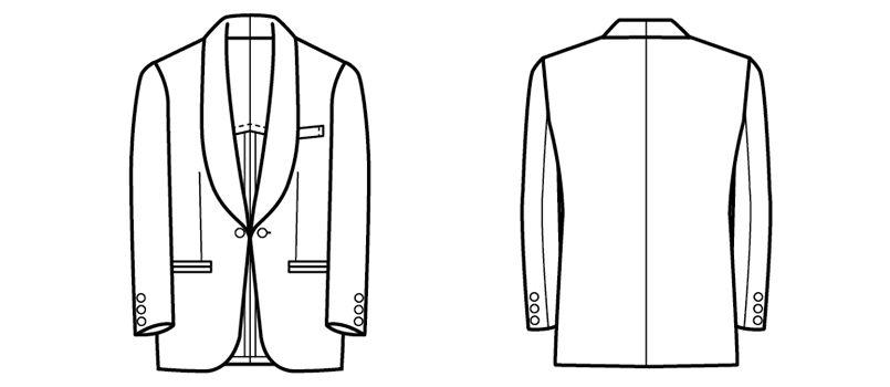 01104-02 BONUNI(ボストン商会) 共衿タキシード(男性用) ショールカラー ハンガーイラスト・線画