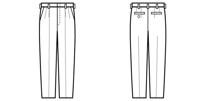 01160-02 BONUNI(ボストン商会) ツータックスラックス(男性用) ハンガーイラスト・線画