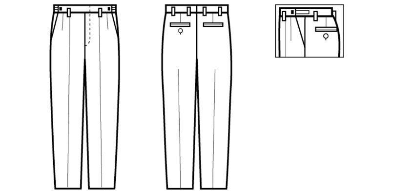 01195-05 BONUNI(ボストン商会) ツータックスラックス(男性用) ハンガーイラスト・線画