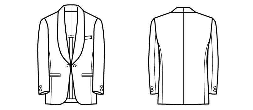 01220-09 BONUNI(ボストン商会) タックスコート(男性用) ショールカラー ハンガーイラスト・線画