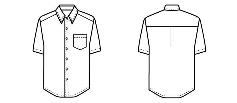 08932 BONUNI(ボストン商会) ボタンダウンシャツ/半袖(男女兼用)ワッフル ハンガーイラスト・線画