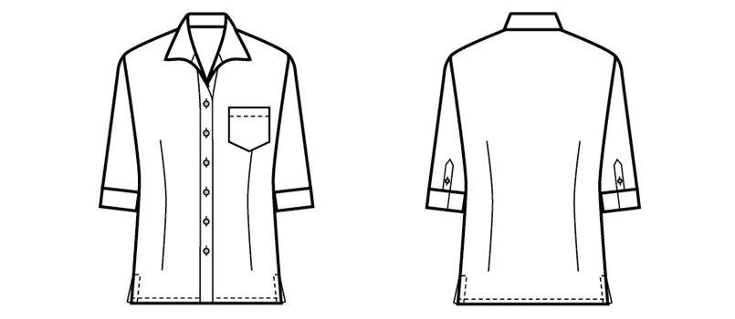 08935 BONUNI(ボストン商会) イタリアンカラーシャツ/七分袖(女性用)ワッフル ハンガーイラスト・線画
