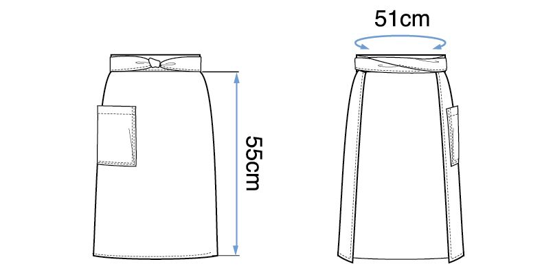 09154 BONUNI(ボストン商会) 和風前掛け(男女兼用) 段落ち三者混 ハンガーイラスト・線画