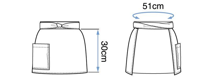 09159 BONUNI(ボストン商会) 和風前掛け(男女兼用) 扱き染 ハンガーイラスト・線画