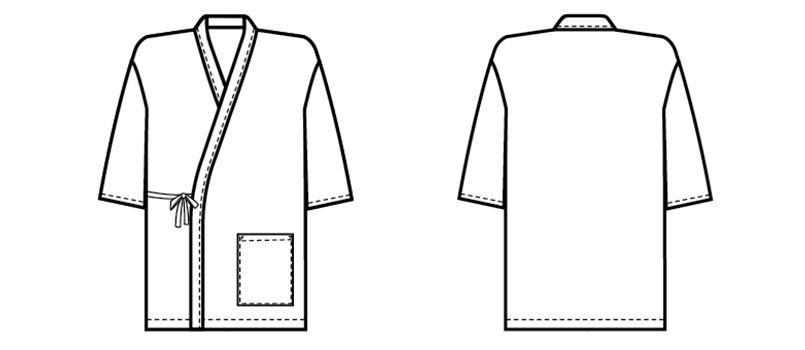 09540 BONUNI(ボストン商会) 作務衣上衣(男女兼用) 段落ち三者混 ハンガーイラスト・線画