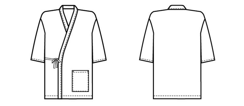 09541 BONUNI(ボストン商会) 作務衣上衣(男女兼用) 扱き染 ハンガーイラスト・線画