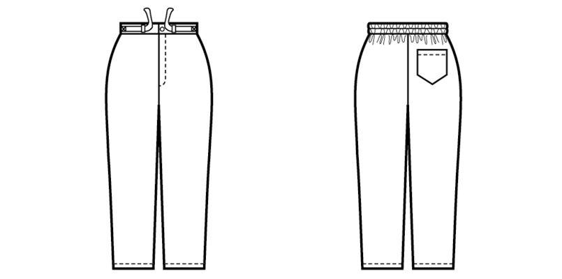 09700 BONUNI(ボストン商会) 作務衣下衣(男女兼用) 扱き染 ハンガーイラスト・線画