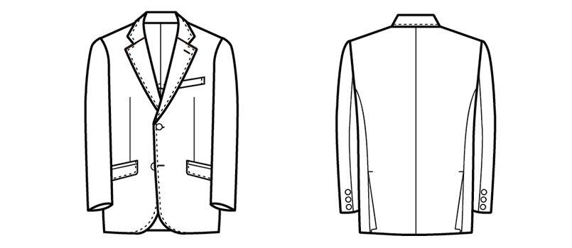 11111 BONUNI(ボストン商会) ジャケット(男性用) ノッチドラペル ハンガーイラスト・線画