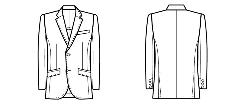 11116 BONUNI(ボストン商会) ジャケット(男性用) ノッチドラペル ハンガーイラスト・線画