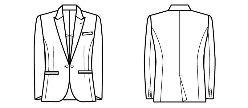 11205 BONUNI(ボストン商会) 拝絹タキシード(女性用) ハンガーイラスト・線画