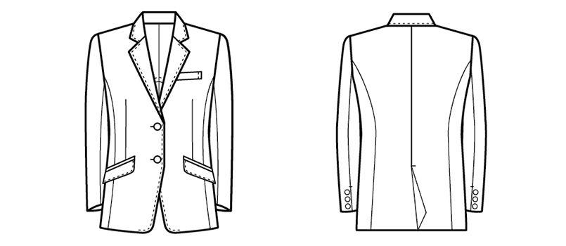 11211 BONUNI(ボストン商会) ジャケット(女性用) ノッチドラペル ハンガーイラスト・線画