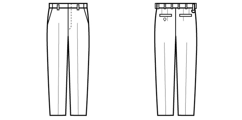 12108 BONUNI(ボストン商会) アジャスターパンツ(ノータック)/股下フリ(男性用) ハンガーイラスト・線画