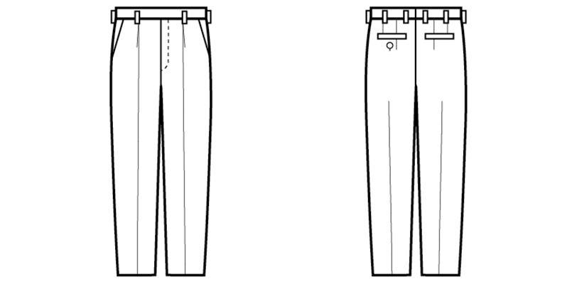 12109 BONUNI(ボストン商会) ワンタックスラックス(男性用) ハンガーイラスト・線画