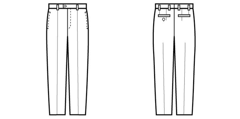 12110 BONUNI(ボストン商会) ノータックスラックス(男性用) ハンガーイラスト・線画