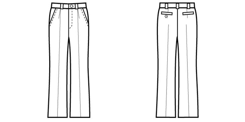 12205 BONUNI(ボストン商会) ワンタックパンツ(女性用) ハンガーイラスト・線画