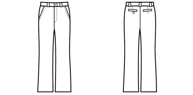 12206 BONUNI(ボストン商会) ストレッチパンツ/股下フリー(女性用) ハンガーイラスト・線画