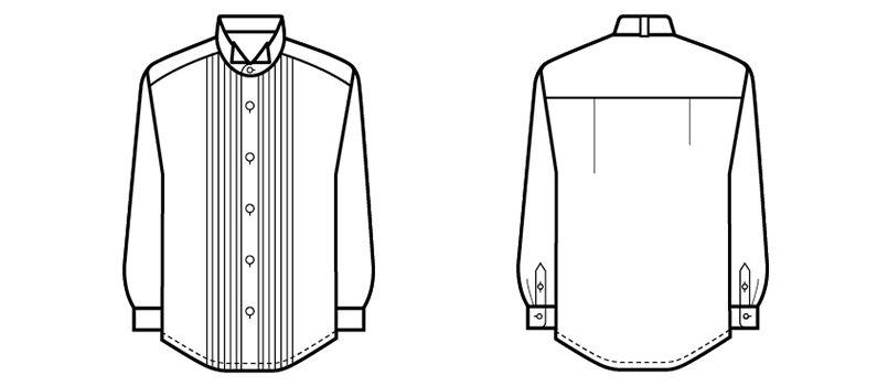 14110 BONUNI(ボストン商会) ピンタックシャツ/長袖(男性用)(ループ付) ハンガーイラスト・線画