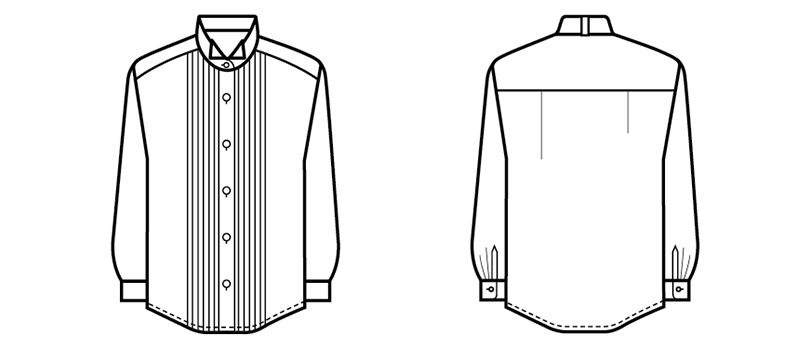 14210 BONUNI(ボストン商会) ピンタックシャツ/長袖(女性用)(ループ付) ハンガーイラスト・線画