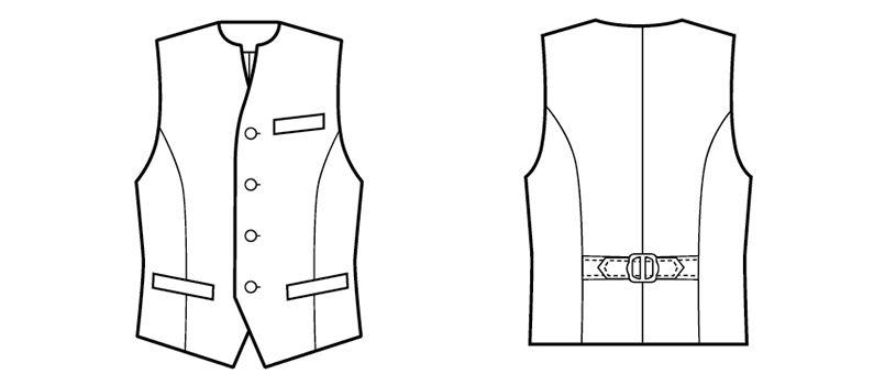 15302 BONUNI(ボストン商会) フォーマル ベスト(男女兼用) 丸襟ノーカラー ハンガーイラスト・線画