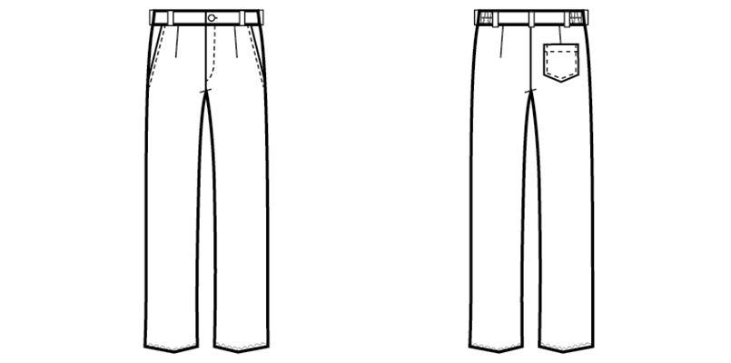 22302 BONUNI(ボストン商会) ノータックストレッチパンツ(男女兼用) ハンガーイラスト・線画