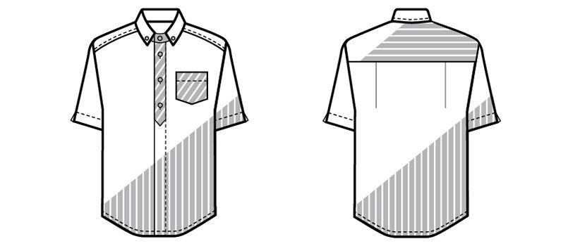 23303 BONUNI(ボストン商会) ボタンダウンシャツ/半袖(男女兼用) ストライプ ハンガーイラスト・線画