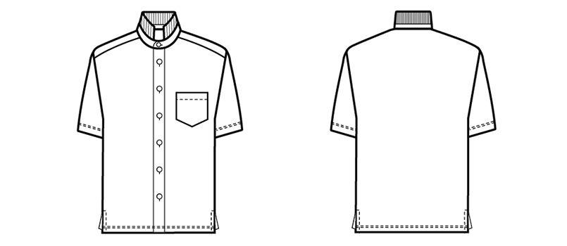 23304 BONUNI(ボストン商会) スタンドカラーニットシャツ/半袖(男女兼用) ハンガーイラスト・線画
