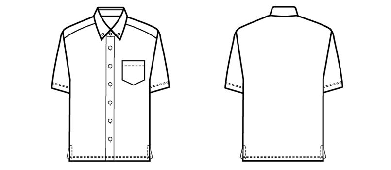 23305 BONUNI(ボストン商会) ボタンダウンニットシャツ/半袖(男女兼用) ハンガーイラスト・線画