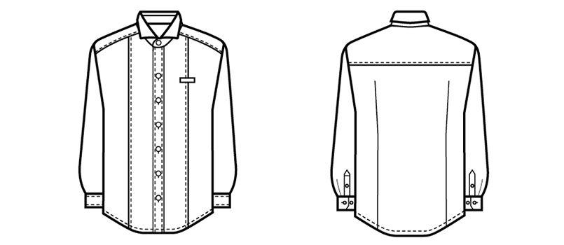 24115 BONUNI(ボストン商会) ホリゾンタルカラーシャツ/長袖(男性用) ハンガーイラスト・線画