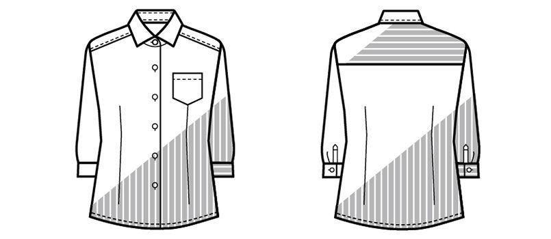 24211 BONUNI(ボストン商会) シャツ/七分袖(女性用) ストライプ ハンガーイラスト・線画