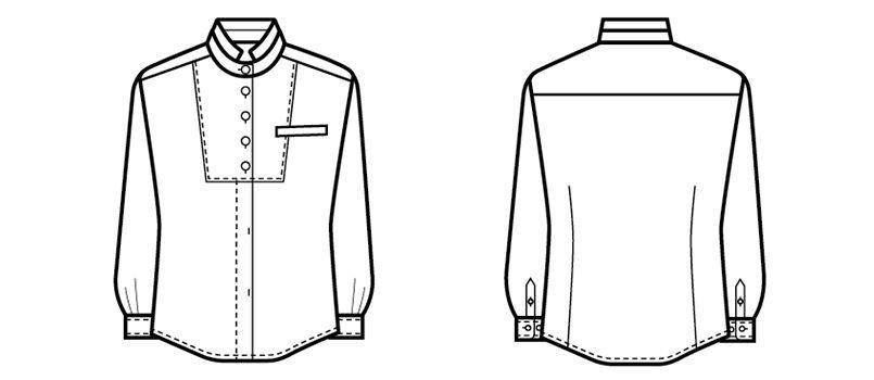 24212 BONUNI(ボストン商会) シャツ/長袖(女性用) ドビーストライプ ハンガーイラスト・線画