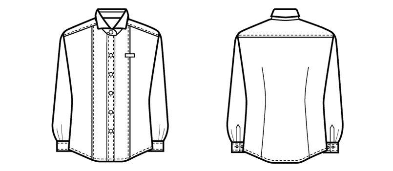 24215 BONUNI(ボストン商会) ホリゾンタルカラーシャツ/長袖(女性用) ハンガーイラスト・線画