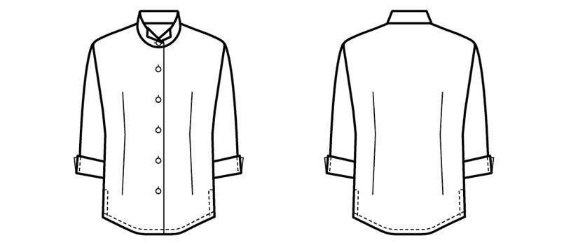 24223 BONUNI(ボストン商会) オックスシャツ/七分袖(女性用) ハンガーイラスト・線画