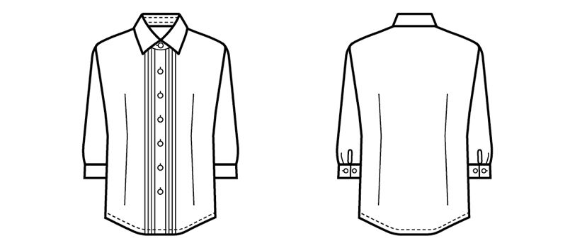 24225 BONUNI(ボストン商会) シャツ/七分袖(女性用) ハンガーイラスト・線画