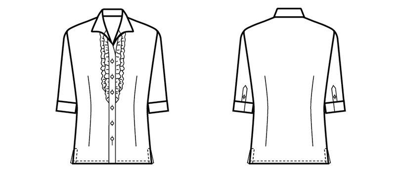 24226 BONUNI(ボストン商会) シャツ/七分袖(女性用) 2重フリル ハンガーイラスト・線画
