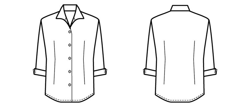 24227 BONUNI(ボストン商会) シャツ/七分袖(女性用) ハンガーイラスト・線画