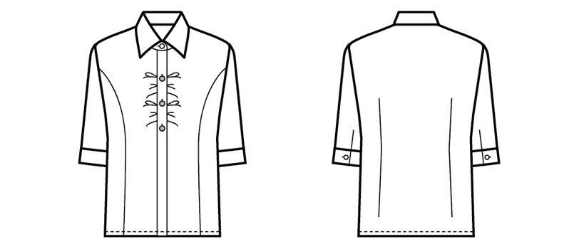 24228 BONUNI(ボストン商会) シャツ/七分袖(女性用) ハンガーイラスト・線画